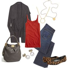 Love red and grey- i actually have an outfit like this, so it is MY STYLE. :)
