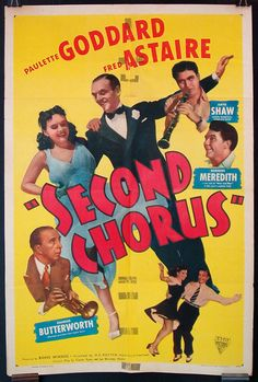Second Chorus original 1940s movie poster Fred Astaire Paulette Goddard swing music