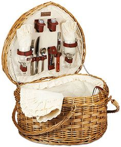 Who doesn't love a picnic? The Heart basket from Picnic Time caters to those who do with its whimsical design and all the necessities for an enjoyable outdoor dining experience. | Wash with damp cloth