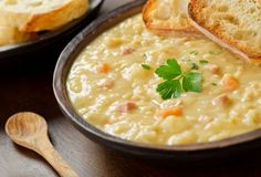 tasty comfort food, Homemade Split Pea Soup will satisfy on those chilly days. Homemade Split Pea Soup Recipe from Grandmothers Kitchen. Healthy Crock Pots, Healthy Soup, Healthy Eating, Yellow Split Pea Soup, Soup Recipes, Cooking Recipes, Free Recipes, Vegan Recipes, Creamy Cauliflower Soup