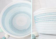 DIY ... alles vonKarin : DIY: Noch mehr Körbe aus Seil Sewing Baskets, Storage Baskets, Rope Crafts, Diy And Crafts, Sewing Hacks, Sewing Crafts, Fabric Bowls, Rope Basket, Craft Show Ideas