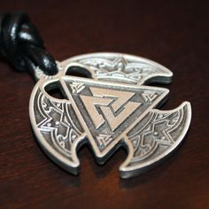 Viking Pendant/Necklace Valknut Triple Axe Double by Borkviking