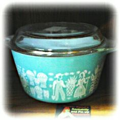 Retro Vintage Pyrex Turquoise Butterprint Amish Dish - Rockin' Ramzi's Rockabilly and Pin Up Emporium booth #848 in the OOAK One of a Kind Antique Market 97 Wilson Street Woodstock, Ontario