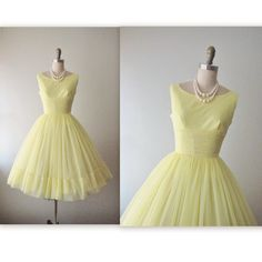 50's Prom Dress // Vintage 1950's Lemon Chiffon Full Wedding Party Prom Dress XS on Etsy, $136.00
