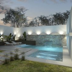 pool ideas in the small backyard - ID . - pool ideas in the small backyard – the pool ideas in the small backyard - ID . - pool ideas in the small backyard – the - Mann wohnt anders 30 DIY-Beleuchtungsideen in der Nacht Hoflandschaft mit Außenleuch. Small Backyard Design, Backyard Pool Designs, Small Backyard Landscaping, Swimming Pools Backyard, Swimming Pool Designs, Modern Backyard, Modern Landscaping, Landscaping Ideas, Small Pool Backyard