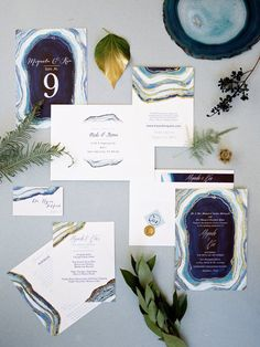 Be the jewel of the evening with this agate inspired wedding invitation suite from Minted.com. Image courtesy of @MLeoEvents