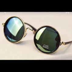 Sunglass Vintage steampunk round sunglass metal mercury reflective circle retro Accessories Sunglasses