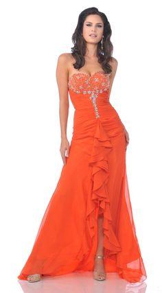 Sexy Long Orange Prom Dress Ruffle Front Slit Strapless Rhinestone $237.99