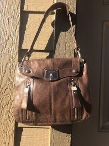 Vintage Makowsky Purse Cross Body Satchel Handbag Bronze Metallic Purse