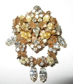"Vintage Gold Tone Signed ""Original by Robert"" Rhinestone Faux Pearl Brooch 