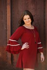 Bell sleeve beautiful fall dress that can be paired with leggings or boots.  Easy to wear, casual and classy.  Perfect fall 2015 color trend! Ruby Kisses Dress