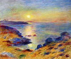 """Pierre-Auguste Renoir (25-02-1841/3-12-1919) """"Sunset at Douarnenez"""" (1883)."""