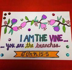 Heather's Divine Designs Sharing God's Word Through Art John 15:5 Custom Made Scripture Note Cards  www.heathersdivinedesigns.com