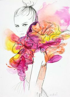 5 must fashion illustrators on hair illustration fashion illustration fashion art print best friend gift gifts for her hair art feminine wall art custom Art And Illustration, Fashion Illustration Sketches, Fashion Sketchbook, Fashion Sketches, Drawing Sketches, Dress Sketches, Fashion Design Illustrations, Watercolour Illustration, Drawing Faces