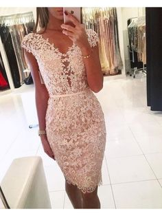 Cap Sleeves Lace Short V-Neck Prom Formal Evening Party Dresses 996021344 - Prom Dresses Design Lace Dresses, Sexy Dresses, Short Dresses, Fashion Dresses, Cocktail Dresses Uk, Short Cocktail Dress, Champagne Cocktail Dress, Applique Cocktail Dress, Simple Party Dress