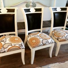 Total of 6 chairs painted & recovered  #PaintedFurniture