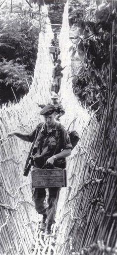 Green Beret with indigenous troops in Dak To Vietnam 1965.