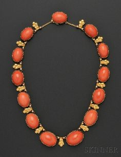 18kt Gold and Coral Necklace, Buccellati, Italy, set with thirteen oval cabochons, bezels with Florentine finish, lg. 15 1/2 in., signed, with box.