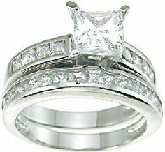 Princess Cut Cubic Zirconia CZ Wedding and Engagement Ring Set in Sterling Silver: http://www.amazon.com/Princess-Zirconia-Wedding-Engagement-Sterling/dp/B0036JC1RM/?tag=globwealcrea-20