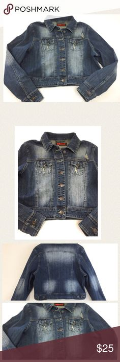 """Distressed denim jean jacket Distressed denim jean jacket with quality stitching and two front pockets. A perfect wardrobe addition for any season. Excellent condition (please note fabric tears are part of the original distressed look). Length 20"""" Bust 45"""" Sleeve length 26"""" All measurements are approximate. Dollhouse Jackets & Coats Jean Jackets"""