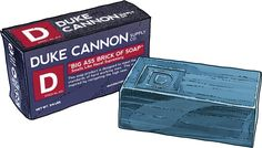 """Duke Cannon's soap is modeled after the rough cut """"brick"""" soap used by GIs during the Korean War — and it's still manufactured in the same Memphis, Tennessee, plant that was the primary supplier of military soap for over 20 years. Fresh """"naval supremacy"""" scent has the bracing freshness of an ocean breeze – smellin' manly."""