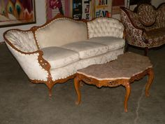 Upholstered Victorian Style Couch with Tufted Sides & Ornate Marble Top Coffee Table Atakc.com