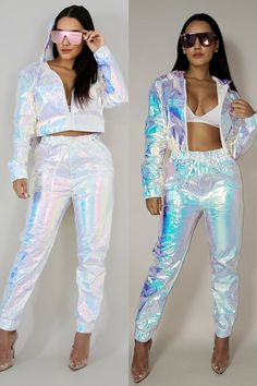 Women's metallic pants set Music Festival Fashion, Festival Outfits, Festival Clothing, Rave Outfits, Cool Outfits, Fashion Outfits, Holographic Fashion, Iridescent Fashion, Ladies Dress Design