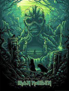 Iron Maiden Shadows of the Valley by Dan Mumford Silk Screen Art Print Acme Archives Iron Maiden Artwork Arte Heavy Metal, Heavy Metal Bands, Hard Rock, Music Artwork, Metal Artwork, Rock Posters, Band Posters, Metallica, Art Hippie