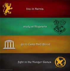 live in Narnia, study at Hogwarts, go to Camp Half-Blood, fight in the Hunger Games