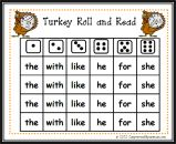 Turkey Roll and Read product from Can-You-Read-It on TeachersNotebook.com