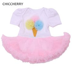 b25fd5f2d20 Cute Ice Cream Newborn Baby Girl Clothes Pink Infant Lace Tutu Dress Kids  Party Outfits Roupa