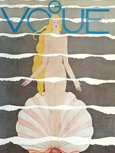 In 1931 Illustrator Georges Lepape created Vogue's first nude cover, a Botticelli-inspired Venus. A second appeared in August 1933, this time designed by Eduardo Benito. Few nude photographic images have been used for the magazine, though Kate Moss has graced the British cover naked in 1995 and the Brazil cover in 2011. Robbie Williams was naked for his October 2000 cover and Johnny Borrell was topless for the May 2007 cover