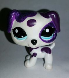 Littlest Pet Shop Purple White Sparkle Glitter Dog Blue Eyes #2136 Preowned LPS in Toys & Hobbies, Preschool Toys & Pretend Play, Littlest Pet Shop | eBay