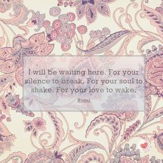 Rumi's Quote. I will be waiting here, for your silence to break, for your soul to shake, for your love to wake.  #jalanmenujusabar