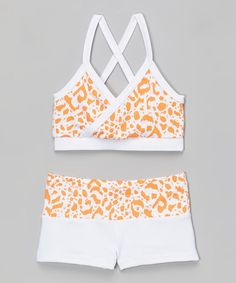 Another great find on #zulily! Orange Leopard Mock-Wrap Top & Shorts - Toddler & Girls by Niva-Miche Clothes #zulilyfinds