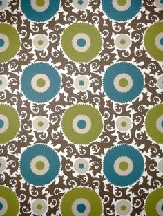 Teal Ikat Fabric by the Yard by greenapplefabrics on Etsy, $57.00