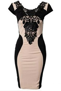 Gorgeous! Sexy Black Lace Spliced Color Blocked Bodycon Dress #sexy #black #lace #fashion