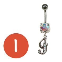 letter I belly ring / piercing ombelico lettera I