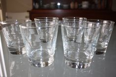 Vintage, Set of 6, Hourglass Etched Rock Glasses, Old Fashioned