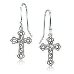 850ccae1a1573f Sterling Silver High Polished Filigree Cross Bottony Dang.