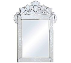 """Mantes Etched Glass 27 3/4"""" x 36"""" Rectangular Wall Mirror 