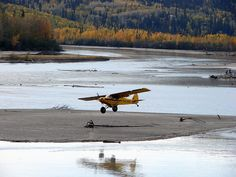 Piper about to land on a sandbar at the confluence of the Chena and Tanana Rivers, Fairbanks, Alaska - September 2007 Airplane Flying, Flying Boat, Piper Aircraft, Bush Pilot, Bush Plane, Pilot License, Float Plane, Vintage Airplanes, Aircraft Pictures