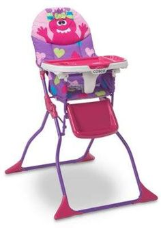 The Cosco Simple Fold Deluxe High Chair's fun monster theme makes mealtimes more enjoyable . Easy to set up, fold, and wipe clean, this chair's tray is perfect for messy eaters. A cozy seat and leg rest ensure your little one's comfort. Toddler High Chair, Best Baby High Chair, Wood High Chairs, Portable High Chairs, Birthday Highchair, Baby Doll Toys, Patterned Chair, Umbrella Stroller, Baby Chair