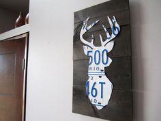 Deer Antler Vintage Industrial Cottage Art - Handmade Rustic Deer Bust License Plate Art