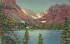 Loch Vale, Rocky Mountain National Park, Colo. (Colorado) Vintage Linen Postcard