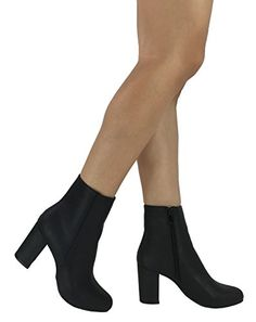378f44e205 Wells Collection Womens Brooklyn Ankle Bootie Round Toe Mid Low Heel Black  85 >>>