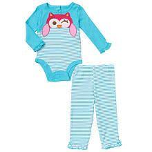 Koala Baby Girls  2 Piece Aqua White Striped Owl Long Sleeve Bodysuit and  Pants Layette Set d38d63f3e