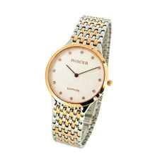 Gold Silver Men White Dial Stainless Steel Watch