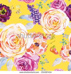 Roses on the yellow background. Watercolor seamless pattern with flowers.