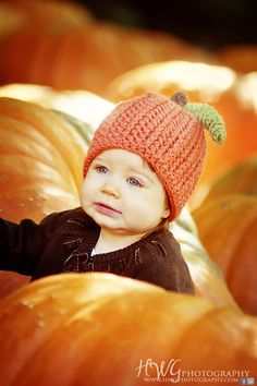 Baby Pumpkin Beanie Hat in Orange with Brown Stem, Green Leaf, Pumpkin Patch Trip, Halloween, Thanksgiving, Fall Photo Prop. $23.00, via Etsy.